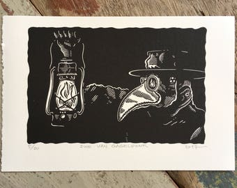 Free shipping // Plague Doctor // Original linocut print