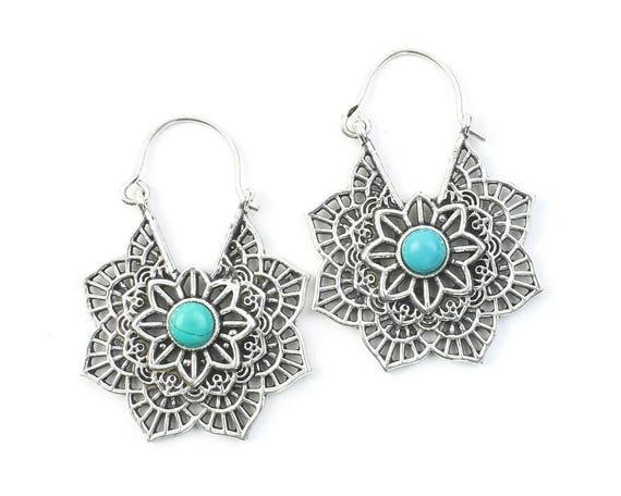 Turquoise Mandala Earrings, Silver Turquoise Earrings, Gemstone Jewelry, Mehndi,  Festival Earrings, Gypsy Earrings, Ethnic Earrings