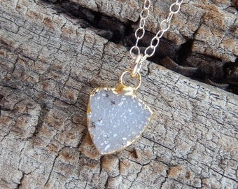 Dainty White Arrowhead Druzy Necklace 24K Gold Petite Crystal Quartz Natural Gold Filled Free Shipping Jewelry