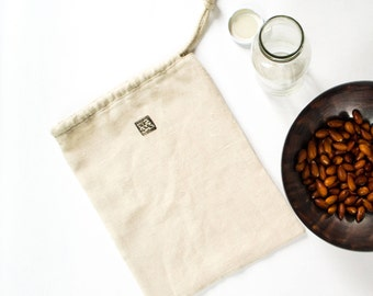 Nut milk bag, vegetable bag, hemp, handmade, eco bag