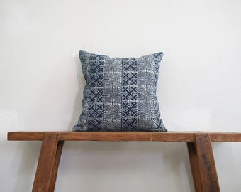 "Vintage 16"" by 16"" Thai Cushion Cover Hmong Hill Tribe Ethnic Batik Indigo Thai"