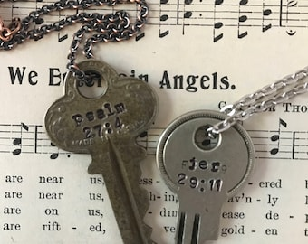 Bible Verse Key Necklace | Religious gift, Inspirational Jewelry, Custom hand stamped verse