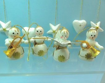 Vintage Christmas ornaments, hand painted wood, angel musicians + hearts and stars, white gold miniature Christmas tree ornaments Lot11