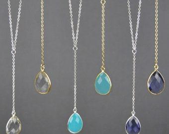 Gemstone Y Necklace    Gemstone Lariat Necklace    14k Gold Filled    Sterling Silver