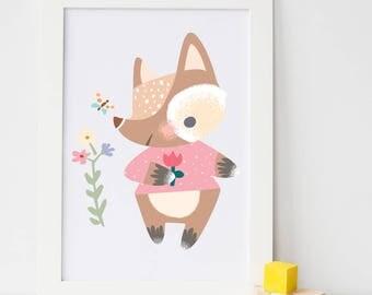 Fox nursery wall art print / unframed art print / twinkies