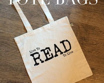 Live to read tote bag, this is the perfect bag for any book lover, bookworm or constant reader, book tote, shopping bag, shoulder bag