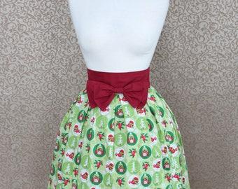 Cotton Pleated Festive Owl Lolita Skirt