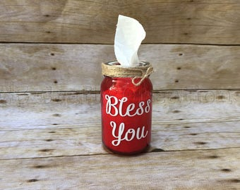 Bless you jar, God bless you, tissue holder, kleenex holder, tissue jar, mason jar with tissues, mason jar decor,