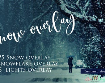 35 Snow Overlays   Instant Download   Includes 15 Bokeh Overlays   Photoshop Editing  Winter Effect