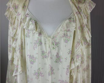 Sweet Dreams Maidenform Womens Peignoir Set Nightgown Robe Paisley Ruffle L Vtg