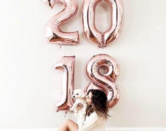 2018 Rose Gold Number Balloons | Rose Gold Number Balloons | Metallic Number Balloons | Rose Gold Party Decorations | Class of 2018