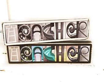 Teacher Small Letter Photography Sign - Teacher Gift - Custom Teacher Gift - Teacher Desk Sign - Teacher Decor - Alphabet Photography Sign