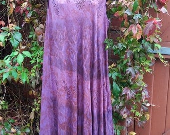 vintage purple hippie dress henna design print and sequins