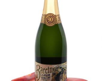 Red and White Champagne Holder - Hostess Gift - Red Wine Bottle Holder - Wine Tasting - Wine Lover Gift - Spirit Sipper Gift - 1179