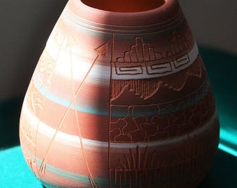 Red Clay, Etched and Hand Painted WH Navajo Art Pottery Vase 1997