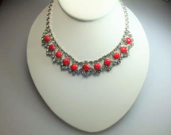 Vintage Silver Tone Prong Set Clear Rhinestones and Opaque Red Rhinestones Adjustable Choker Necklace with Hook Closure