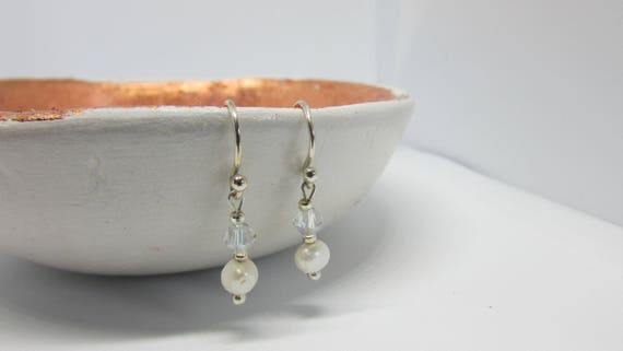 Freshwater Pearl and Crystal Sterling Silver Drop Earrings