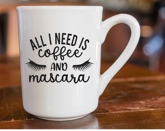 All I Need Is Coffee And Mascara Makeup Yeti Ozark Tumbler Cup Laptop Car Decal Sticker