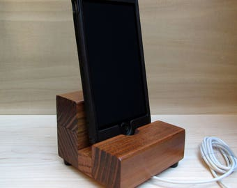iphone dock, cell phone stand, charging stand, iphone 6 stand, samsung dock, wood phone holder, wooden phone dock, redwood universal design.
