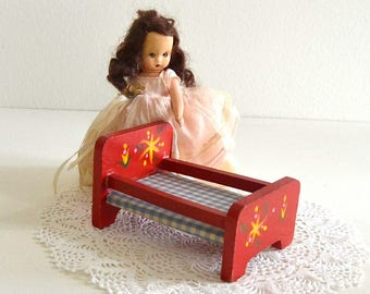 vintage doll bed dollhouse bed red wood dollhouse bed