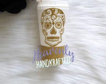 Sugar Skull Glitter To Go Cup // Sugar Skull Glitter Cup // Glitter Coffee Cup // Day of the Dead //Birthday Gift // Halloween //Skull