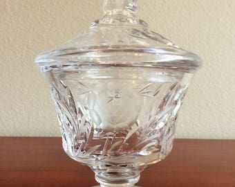 Lead Crystal Cut Glass Covered Candy Dish