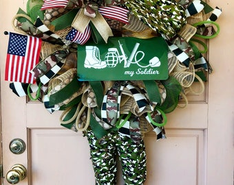 Patriotic wreath, Patriotic decor, Patriotic decorations, Soldier wreath, Military wreath, Military decor, Military gift