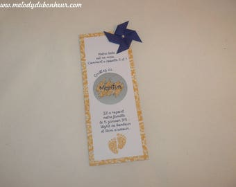 Original birth announcements, case to scratch, to share name surprise bookmark