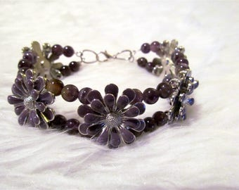 Purple Flower Slider Beaded Bracelet