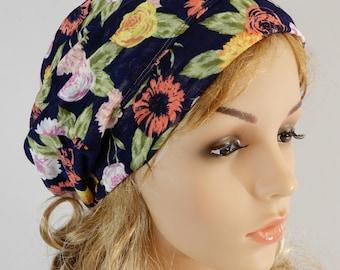 Summer hat women Summer beanie-headband-neck scarf Summer slouchy hat Summer headband Floral headband hat scarf stretchy S-L