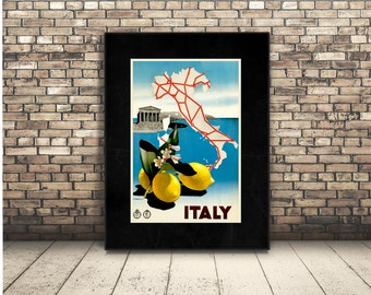 Italy Digital Poster with Lemons and Italian Map. Clip Art Download Wall Art or Home Decor of Europe in Rome, Venice, Milan and Florence.