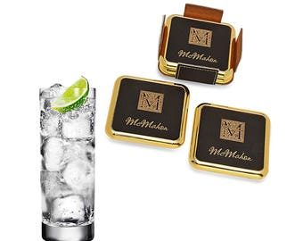 Square Engraved Black and Brass Coaster Stack - Brass Monogram Coaster Gift Set - Personalized Leather Coaster Set - Wedding Gift Idea
