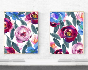 set of two flower digital, set of two flower printable, set of two printable flower, abstract flower digital, abstract flower pattern