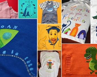 Hand painted illustration on garment custom-