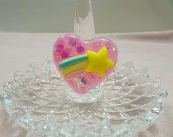 Pink Shooting Star Heart Ring