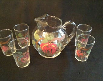 SALE Small Hand painted Fruit Juice Ptcher and Glasses