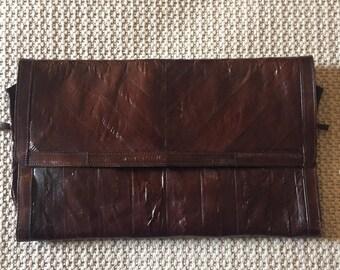 Vintage Victory Eel Skin Leather Clutch