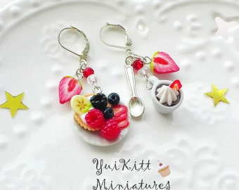 Sweet Summer Earrings/ Pink Red Berry Earrings/ Silver Earrings/ Food Jewelry/  Mini Strawberries/Tiny Cappuccino Cup/ Miniature Berry Tart