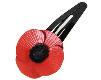Barrette Click Clack leather poppy flower full grain cowhide