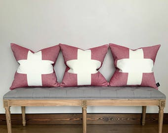Pillow cover, red linen and vintage chenille, heathered linen, swiss cross, red and white pillow cover