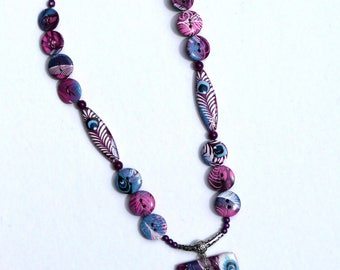 Long necklace, pendant necklace, purple and blue Peacock eye, designer necklace