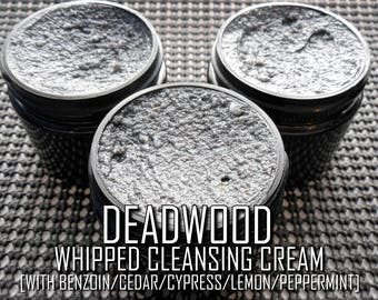 Deadwood Whipped Cleansing Cream | Pure Activated-Charcoal/Bentonite Clay Detox/Exfoliant Ointment Cleanser with 5-Essential Oil Blend