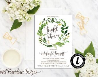 Bridal Shower Invitation/ Printable Bridal Shower Invite/ Greenery Shower Invitation Collection / Botanical Watercolor Editable Invitation