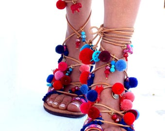 "POM Pom Sandals, ""American Dream"", Leather Sandals, Gladiator sandals, Greek Sandals,Colorful Sandals, beaded sandals, boho"