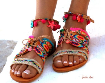 "leather sandals, Friendships  Boho Sandals, ""JOSEFINE"",  Pom pom summer shoes,  Handmade Sandals, Greek Sandals,  Bohemian sandals"