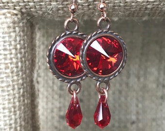 Red and Rose Gold Swarovski Crystal Earrings