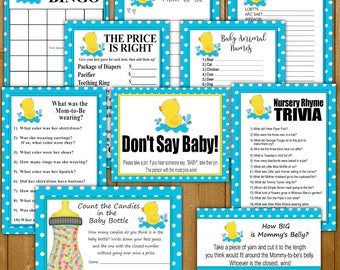 Rubber Duck Baby Shower Games Printable 10 Pack, Baby Shower Games, Baby Shower Games, Rubbery Duck, Instant Download