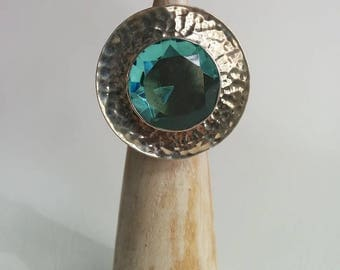 Vintage Sterling Silver Huge Enormous Round Blue Topaz Hammered Dish Statement Ring