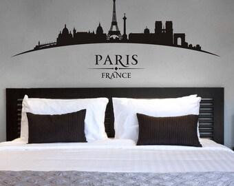 WD101127 | Paris France City Skyline - Eiffel Tower, Notre Dame, Arc de Triomphe - Bedroom Living Room Wall Art Sticker