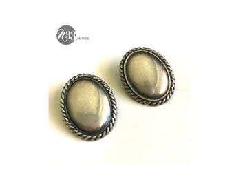 Vintage, silver, clip-on, earrings, twisted edge